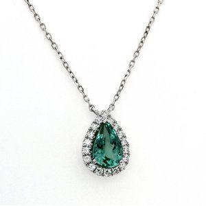 Natural Green Paraiba 0.17 CT &14K Gold Necklace